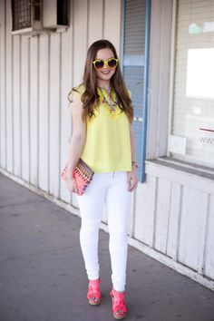 Fashion-Style-Outfit Ideas-OOTD-Outfit Inspiration-Pink-Yellow-Neon-Target Style-Necklace-Tassel-Clutch-White Jeans-Tank Top-Summer-Summer Style