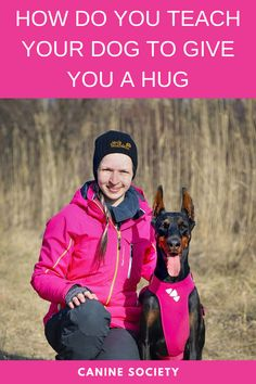 """You have several ways to teach your dog to hug you. If your pooch loves to wrap his paws around you, you can reinforce this behavior when it's happening with praise and/or treats. You can also use a command a word like """"Hug,"""" followed by food or toy rewards. This second method works best for calm dogs not prone to excessive jumping. Dog Commands Training, Hug You, Behavior, Your Dog, Toy, Calm, Treats, Teaching, Shit Happens"""