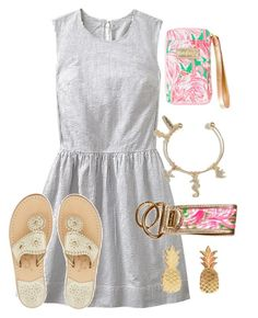 """""""Preppy Date Night"""" by chevron-elephants ❤ liked on Polyvore featuring Gap, Vinca, Jack Rogers and Lilly Pulitzer"""