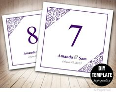 Purple Wedding Table NumbersPrintable Table Number by paperfull
