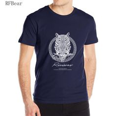 RFBEAR brand 2017 new t shirt man cotton Short sleeve fashion summer printing Casual o-neck Men T-shirt Spirit of the night bird