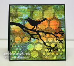 A quick card, made with a gelli print background.  I will add a sentiment later. StampingMathilda: Silhouette Bird
