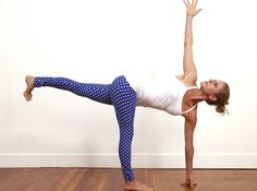 Parivrtta Ardha Chandrasana - Revolved Half Moon Pose - Strengthens your standing leg, especially your hamstrings; Improves core strength along the sides of the waist; Opens the shoulders, hips, and pelvis; Improves your balance and focus.