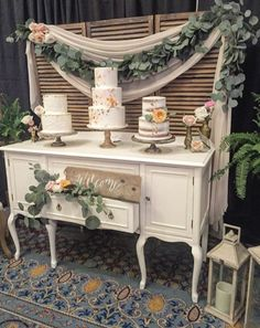 Cake display booth. #bridalshowboothideas www.bestweddingshowcase.com
