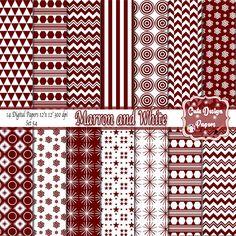 Papel digital patrones marron y blanco, papeles lindo marron, triángulo marron, chevron marron, estrellas marron, marron y blanco de CuteDesignPapers en Etsy