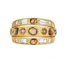 De Beers Talisman three line ring with rough diamonds (=)
