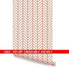 Herringbone Line Orange Peel & Stick Fabric von AccentuWall auf Etsy