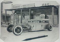 Hotrod old gas station drawing
