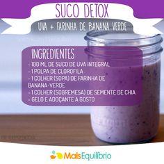 Que tal um suco de uva com farinha de banana-verde para começar a sua manhã cuidando muito bem do seu corpo? http://maisequilibrio.com.br/receitas-light/suco-de-uva-com-farinha-de-bananaverde-8-2-7-2382.html