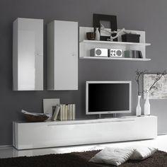 Ensemble meuble TV blanc laqué design | Salons | Pinterest ...