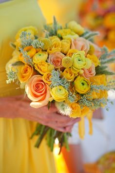 Yellow and coral wedding flower bouquet, bridal bouquet, wedding flowers, add pic source on comment and we will update it. www.myfloweraffair.com can create this beautiful wedding flower look. Cave B Winery Wedding in Washington; photos by Belathée Photography | junebugweddings.com