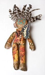 """Wingspread"" mixed media art doll, by Heidi Rand. Back."