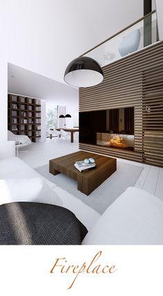 Sleek and minimal fireplace design