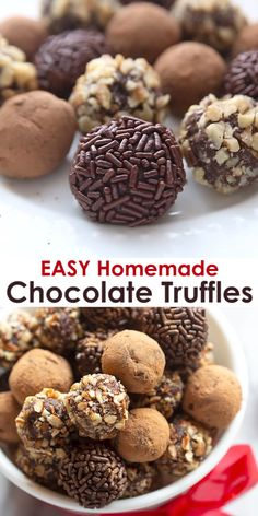 These delicious Chocolate Truffles are the definition of EASY homemade candy, with only 4 ingredients and so simple that anyone can help make them!