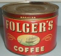 Old Folger's Coffee tin - before plastic they had a metal key to open the top of the coffee can. <3