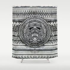 Aztec Darth black and white pencils sketch Shower Curtain #starwars #aztec #darthvader #starlord #r2d2 #troopers #obiwanstatue
