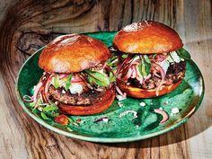 Lamb Burger with Mint, Feta, and Balsamic Onions — Saveur Best Lamb Recipes, Summer Recipes, Free Recipes, Easy Recipes, Chicken And Donuts, Feta, Marinated Lamb, Balsamic Onions, Lamb Kebabs