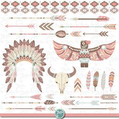 """Tribal Clipart pack """"INDIAN CLIP ART"""", feather headdress, feathers, arrows, skull, bison, borders, indian clip art, wedding invitationTrb004"""