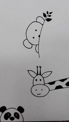 Mini Drawings, Cute Easy Drawings, Pencil Art Drawings, Art Drawings Sketches, Doodle Drawings, Animal Sketches, Animal Drawings, Doodle Art, Stick Figure Drawing