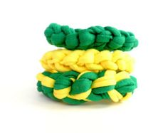 3 Brazil bracelets for women for the Soccer World Cup 2014 with the colors of the Brazil flag. Handmade Brazil jewelry.