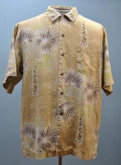 Tommy Bahama Gold Floral 100% Silk Hawaiian Aloha Camp Shirt Button Down  Size M   926f0d87b