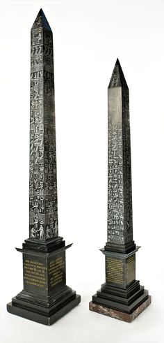 Solar Obelisk and Lateran Obelisk, Rome. nero and variegated marble 35-1/2″ and 30″ h. , ca. 1870