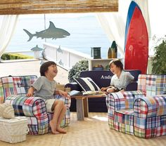 Love these chairs  Navy Madras Anywhere Chair | Pottery Barn Kids