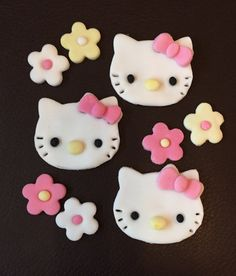 9 x edible icing Hello Kitty themed cupcake toppers by ACupfulofCake