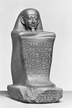 Block statue of Ankh-pekhred  Egyptian, 380-340 B.C.  granodiorite  Walters Art Museum
