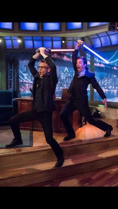 Chris Hardwick and Jimmy Fallon have a light saber battle during commercial break. Just. Awesome.