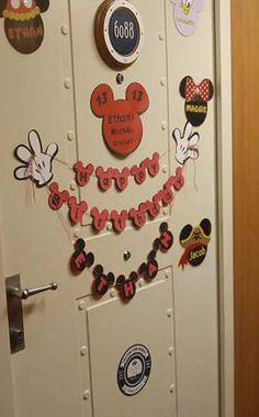 Personalized Happy Birthday Banner Disney Mickey Heads Cruise Door Decoration Magnet Hands Mouse DCL