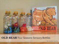 Earlier this week, I posted my Four Seasons Sensory Bin based on Kevin Henkes book Old Bear. Today, I would like to share my extension activity to the sensory bin, Four Seasons Sensory Bottles. Sensory Tubs, Sensory Bottles, Sensory Activities, Sensory Play, Book Activities, Preschool Books, Preschool Science, Preschool Weather, Preschool Ideas