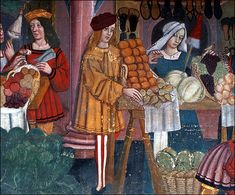 Detail of a market scene, a fresco oflate 15th-early 16th century in the castle of Issogne, Val d'Aosta.