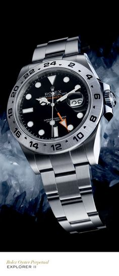Rolex Explorer II in steel with a fixed, graduated bezel, black dial and Oyster bracelet. Rolex Explorer II in steel with a fixed, graduated bezel, black dial and Oyster bracelet. Rolex Watches For Men, Fine Watches, Luxury Watches For Men, Army Watches, Amazing Watches, Beautiful Watches, Cool Watches, Rolex Explorer Ii, Rolex Diamond Watch