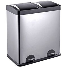 Step N' Sort 16-Gallon 2-Compartment Stainless Steel Trash and Recycling Bin, Silver