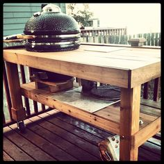 Awesome BBQ Table For A Kamado Grill, On Wheels!