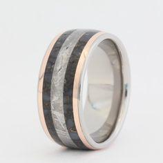 #jewelrybyjohanArtfire on Artfire                   #ring                     #Dinosaur #Bone #Gibeon #Meteorite #ring #Rose #Gold #Inlays                  Dinosaur Bone / Gibeon Meteorite ring and two 14K Rose Gold Inlays                                      http://www.seapai.com/product.aspx?PID=553675