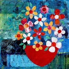 """The Red Bowl"" Mixed Media Collage on Paper, 30cm x 30cm by artist Gill Tomlinson. See her portfolio by visiting www.ArtsyShark.com"