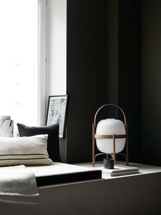 Dark olive green + Cestita lamp