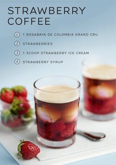 Do you love the taste of fresh strawberries in the summer? Then this Strawberry Coffee recipe is for you. Enjoy the taste of sweet summer berries year round as you luxuriate in this combination of Rosabaya de Colombia, strawberry ice cream, whole strawberries, and strawberry syrup.