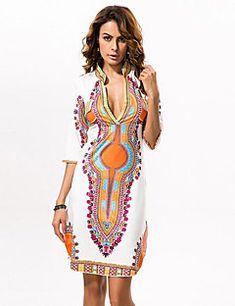 8fa2c7fb991 Femme Bohème Grandes Tailles Sortie Bohème Au dessus du genou Gaine Robe -  Imprimé