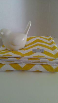 "Yellow Chevron Minky Baby Blanket 29""x34"". $28.00, via Etsy."