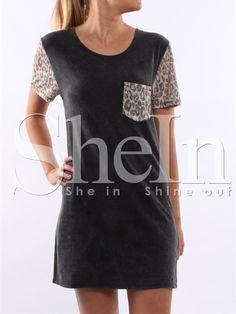 Black+Short+Sleeve+Leopard+Print+T-Shirt+Dress+10.99