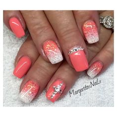 Coral & White - Nail Art Gallery