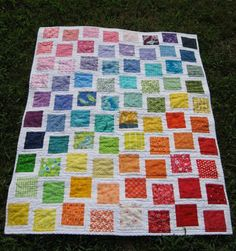 Rainbow - I could do this one like that pink quilt that You put the squares on top of the whole cloth quilt!!!! How quick and cute!!!!