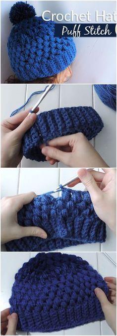 Crochet Gradient Beanie Hat Puff Stitch #CrochetBeanie