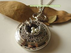 Antique silver pearl nest bird Pocket Watch Necklace Jewelry