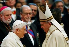 Pope Francis greets Benedict XVI on Feast of St Joseph