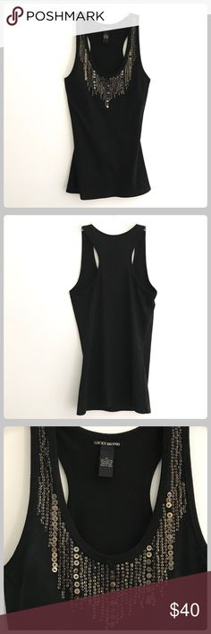 Lucky Brand Stunning Gold/Black Sequined Tank Top This top is a keeper for sure! It has been worn one time and was to large on me! Otherwise I would never sell it! It is simply gorgeous! In perfect condition! Bust 16 with give! Length 29 Lucky Brand Tops Tank Tops