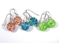 Floral Dangle Earrings, Sterling Silver Hooks, Pink, Aqua Blue, Lime Green, Fused Glass Jewelry @ResetarGlassArt #bmecountdown